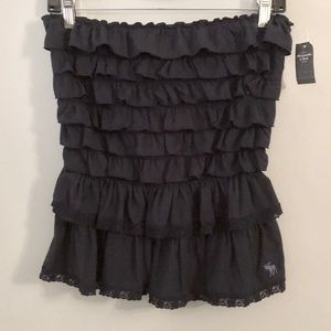 NWT! Abercrombie Navy Ruffled Tube Top